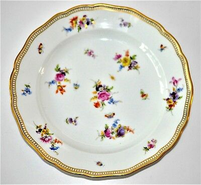 Antique Meissen Porcelain Scattered Flowers & Insects Plate Hand- Painted  19th