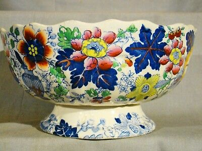 Antique Gaudy Staffordshire Deakin & Son Fountain Small Footed Punch Bowl 19thc