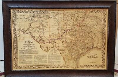 "ANTIQUE TEXAS MAP FRAMED /""The Lonesome Dove~Comanche Moon~Great Trails/"""