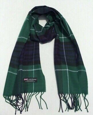 100/% Cashmere Scarf Soft 72X12 Solid Charcoal Grey Scotland Check Plaid Wool Men
