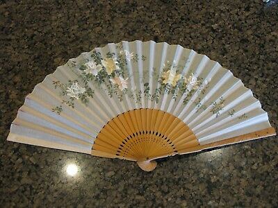 Older Vintage or Antique Silk Fan Hand Embroidered, Painted Flowers, Carved Wood