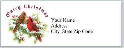 Personalized Address Labels Cute Cardina Birds Christmas Buy3 get 1free (bx 247)