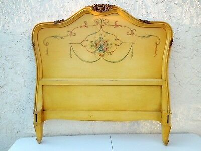 Pair of Antique Hand Painted and Carved French Italian Provincial Twin Beds