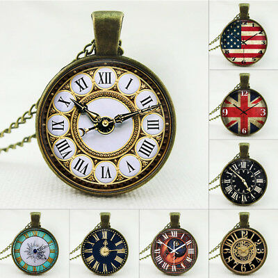 Vintage Antique Style Alloy Clock Necklace For Women with gift bag