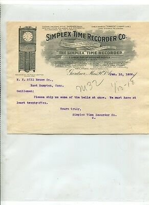 Vintage Illustrated Letterhead SIMPLEX TIME RECORDER Gardner MA 1906 SCARCE