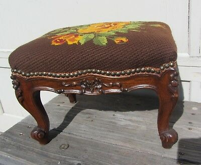 Antique FRENCH Ornately Carved Footstool w/ Needlepoint Needle Point Very Nice!