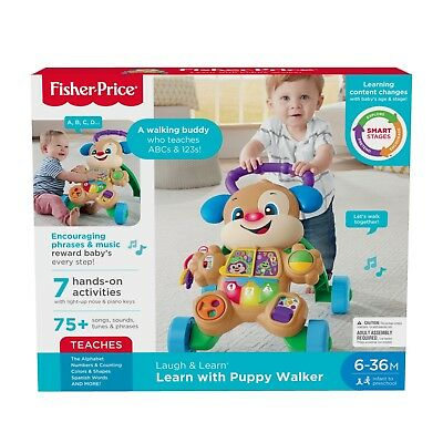 New FISHER PRICE Learn w/ Puppy Musical Baby Walker 75+ Songs Phrases Lights 6M+