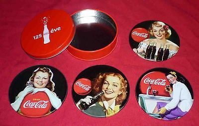 Coca-Cola Coke Girls 4 different metal and cork coasters w/tin Hungarian Promo