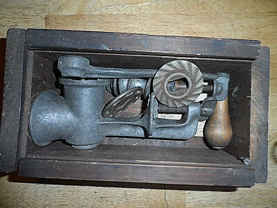 Vintage American Meat Grinder- #10-With Vintage Handmade Wood Box+ Instructions