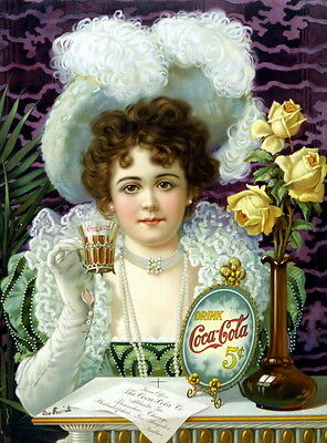 "New 13x17 Reprint Poster: ""Drink Coca-Cola 5 cents"" Soda Pop Coke Ad, ca. 1890"