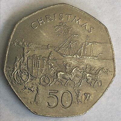 Isle of Man 50 Pence 1980 Christmas KM 1322.2