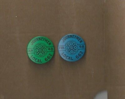 40s UA PLUMBERS PIPEFITTERS STEAMFITTERS UNION Local 662 DUES Pin Pinback  Button