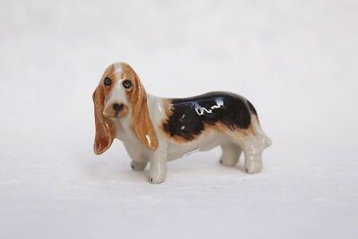 Figurine Animal Ceramic Basset Hound Dog Miniature Handmade Collectible Gift