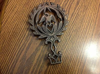 Vintage Cast Iron Trivet Bronze Colored Eagle and Heart