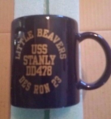 Vintage Little Beavers USS Stanly DD478 DES RON 23 Coffee Cup