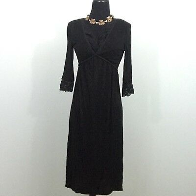 JW Japanese Weekend Small Maternity Breastfeeding Black Slinky Knit V Neck Dress