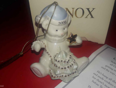 LENOX 2006 TEDDY BEAR'S BRIGHT CHRISTMAS Porcelain Ornament w/ Box