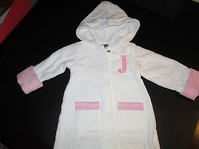 """Mud Pie White Terry Baby Girl Bathrobe, Initial """"J"""", Size 0-6 Months, New"""