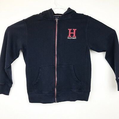 Tommy Hilfiger girls zip up sweatshirt size large 16/18 long sleeve navy A3-06