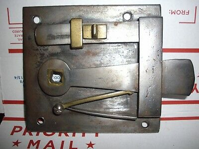 Antique Hand Forged Wrought Iron Door Lock Latch And Lock   Nice