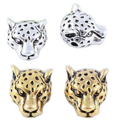 50pcs 12mm Silver & Gold Brass Leopard Head Charm Spacer Beads Jewelry Findings