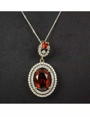 Antique Vintage Red Garnet and Sapphire Silver 925 Pendent