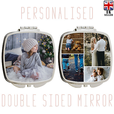 Personalised Custom Photo Collage Handbag Travel Make Up Cosmetic Compact Mirror