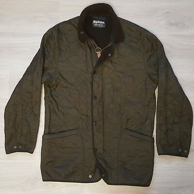 Barbour Men Authentic Polar Quilted Jacket Long D310 Size M Olive Green