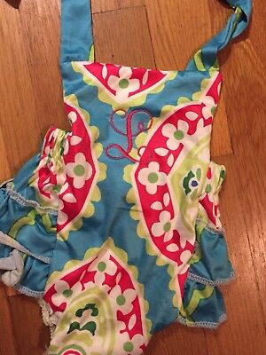 baby one peice bathing suit. monogram L. colorful 3-6 months