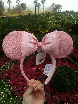 Disney Parks 2018 Minnie Mouse Sequin Millennial Pink Ears Headband - Adult