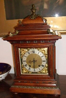Super large walnut and gilt cased bracket clock by RMS c1895 good working order