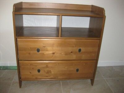 Ikea Leksvik Nursery Antique Pine Chest Of Draws With Changing Table Top