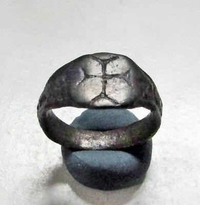 ANCIENT BYZANTINE BRONZE ,Cross RING.