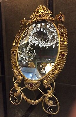 Antique Brass Dressing Mirror and Filigree in Gilded Bronze