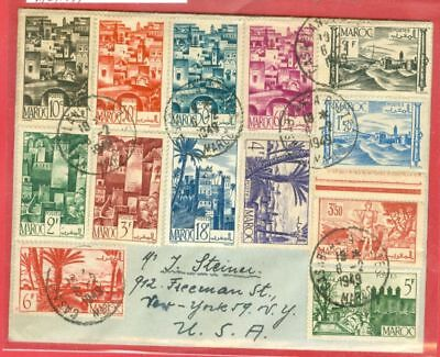 France Colony MOROCCO 13 diff stamp on cover to USA 1949   gtc