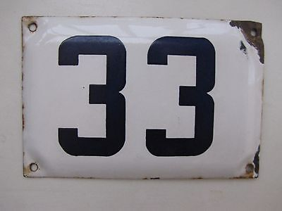 vintage ISRAELI  enamel porcelain number 33  house  sign # 33