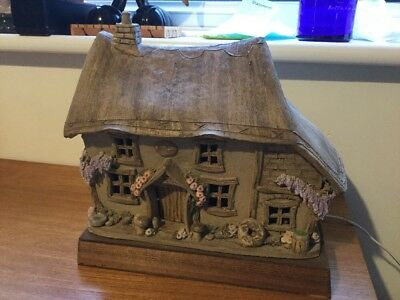 Retro Studio Pottery Thatched Cottage / House Electric Table Lamp Light