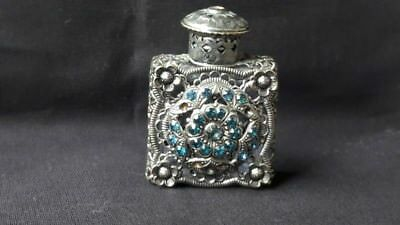 Antique Glass Perfume Bottle Ornate Metal Stones