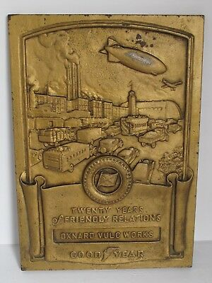 Antique Iron Plaque 1940's GOODYEAR TIRE Presented to Oxnard Vulc Works