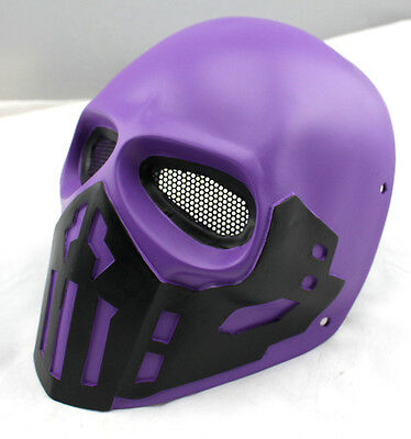 Purple Fiber Resin Wire Mesh Eye Airsoft Paintball Full Face Protection Mask