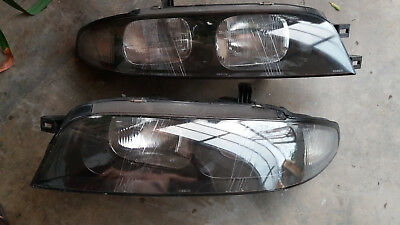 JDM Nissan Skyline R33 GTS RB26DETT Twin Turbo Black Housing Headlight  Lamps OEM