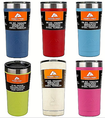 d3214cd5b17 OZARK TRAIL 20-OUNCE Double-Wall Vacuum-Sealed Tumbler, 11 Colors, Free  Shipping