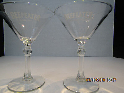 """Beefeater London Dry Gin Martini Cocktail Glasses """"White Logo"""" : 6oz./6"""" tall"""