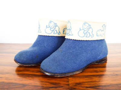 Vintage Blue Boy Baby Shoes Toddle Booties Childrens Retro Clothes Nursery Decor