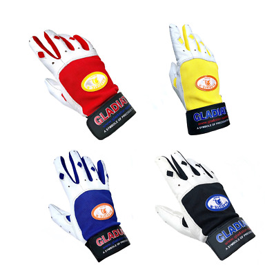 Baseball Batting Gloves Classic PAIR Leather S M L XL XXL Red Black Blue Yellow