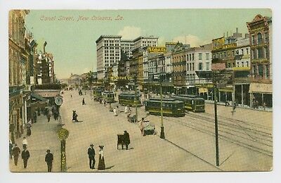 New Orleans, LA - EARLY 1900s STREET SCENE - TROLLEYS & CROWD - Postcard - S