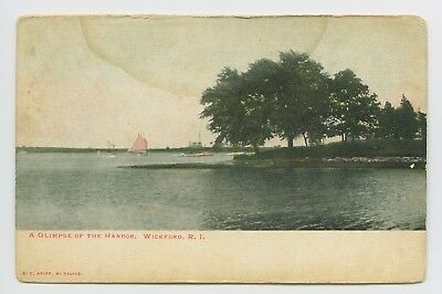Wickford, RI - VIEW OF HARBOR AND BOATS - EARLY PRE 1908 POSTCARD - T