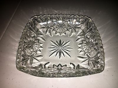 "Antique Clear Glass Square Candy Dish Bowl 6 1/2"" Art Deco Vintage"