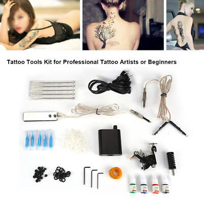 Complete Tattoo Kit Professional One Machine MAKER Set GUN 4 Ink for Beginner GL