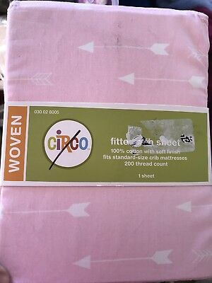 Circo Woven Pink White Arrow Fitted Crib Sheet New Baby Toddler Bedding Boho